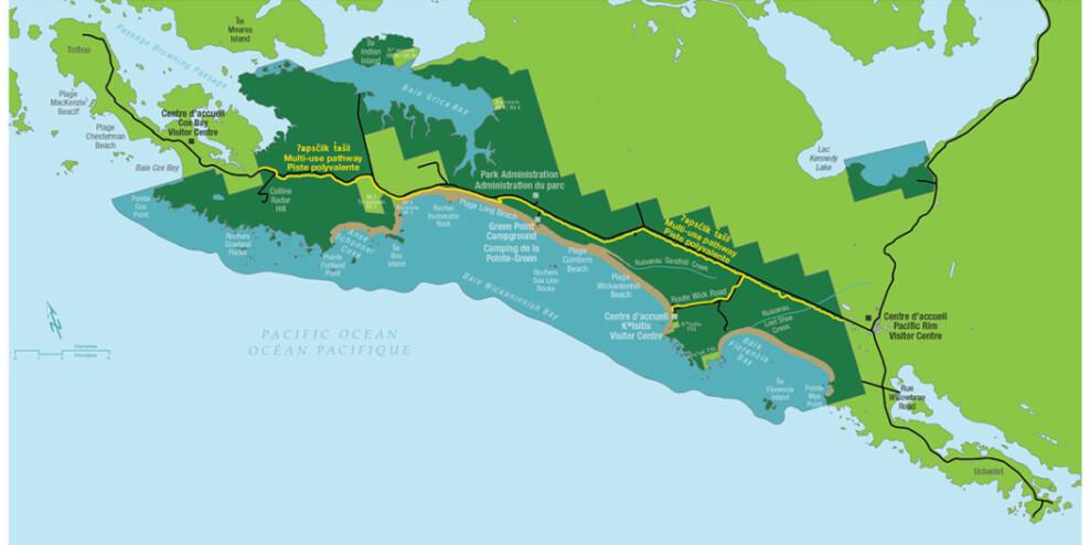 A map of the new ʔapsčiik t̓ašii (upscheek tashi) pathway.)