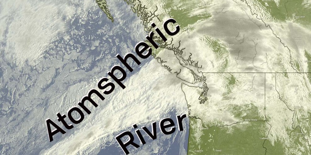 A satellite view of an atmospheric river flowing into Vancouver Island.